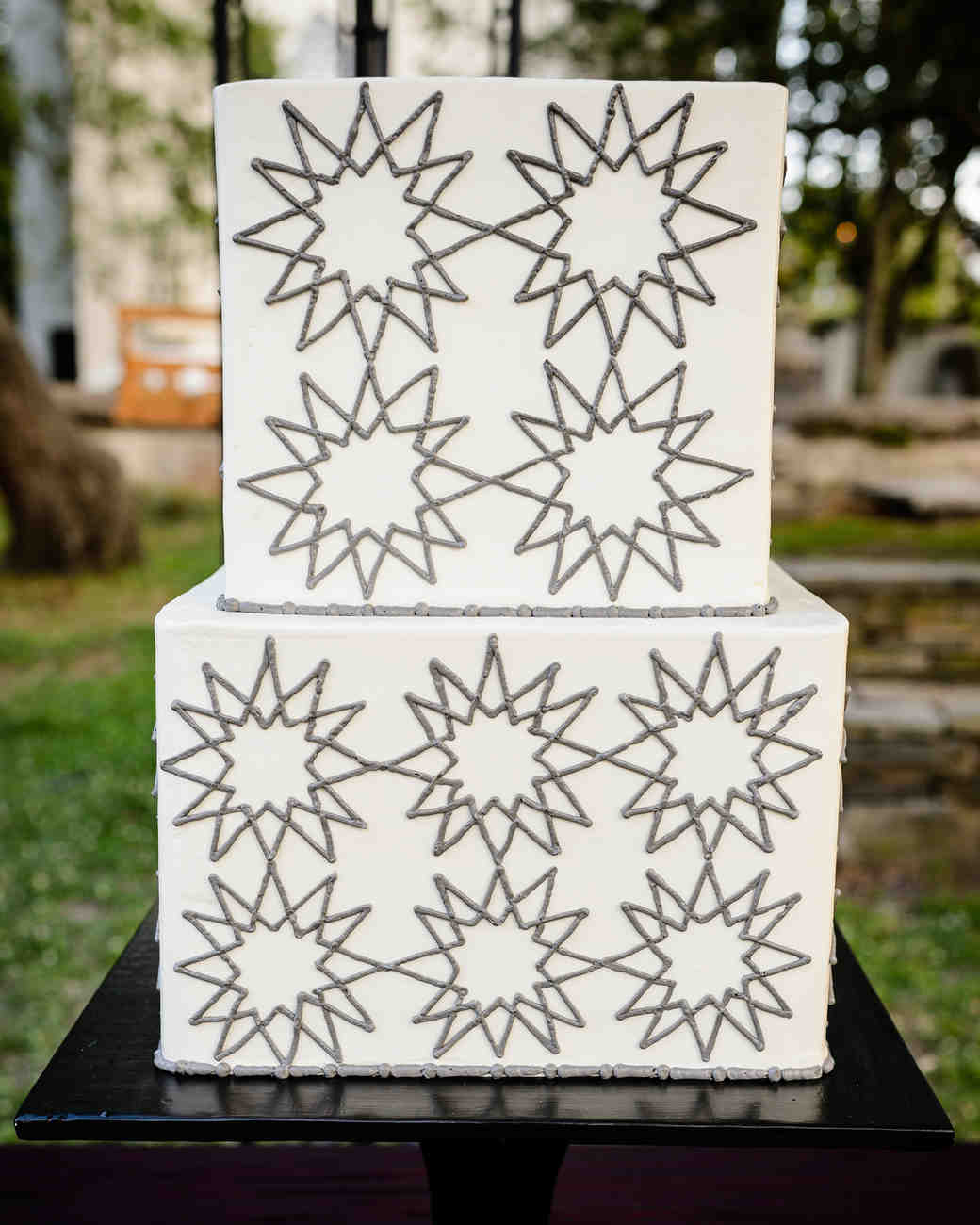 Wedding Cake with Silver Stars