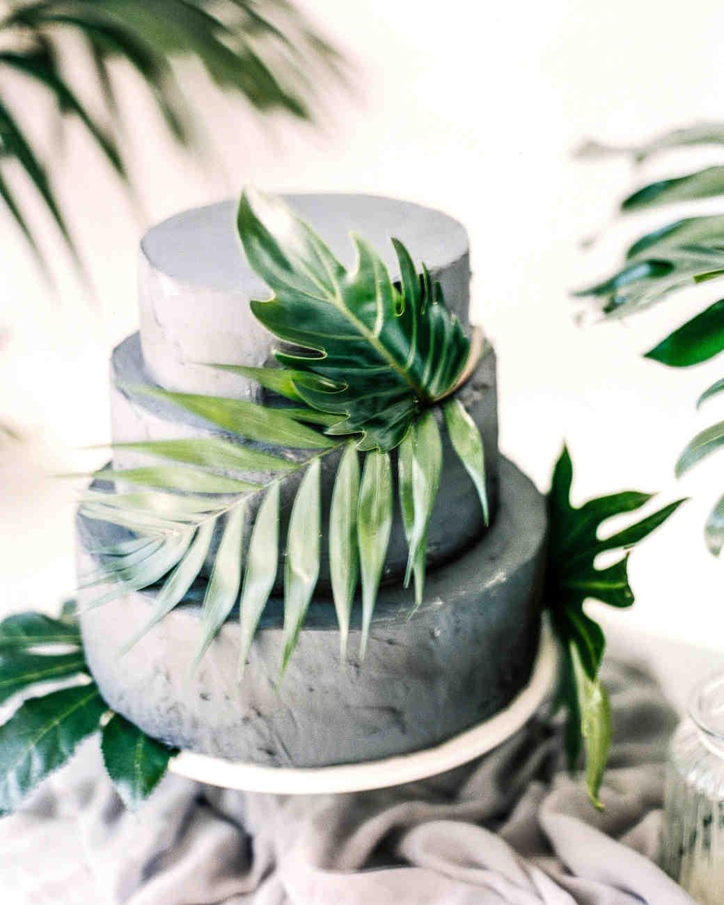 grey cake greenery