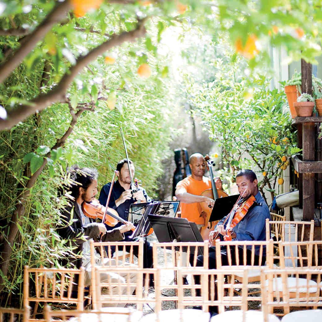 string quartet in courtyard