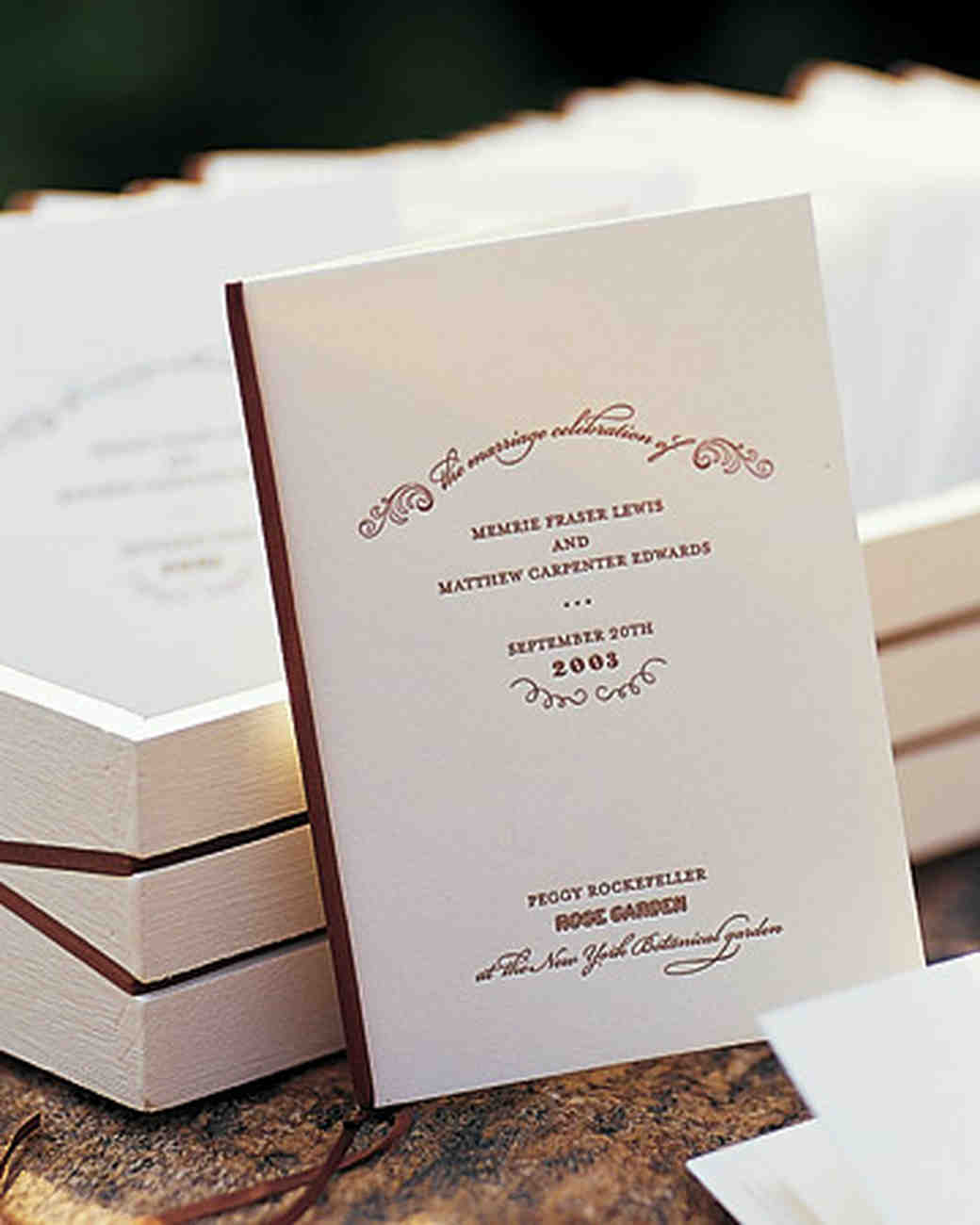 Classic Wedding Ceremony Programs | Martha Stewart Weddings