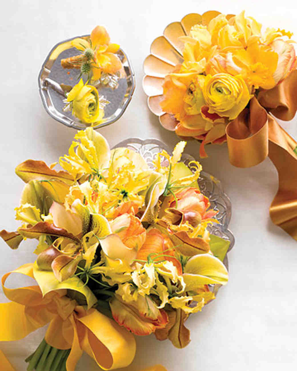 Yellow and orange wedding flowers martha stewart weddings yellow and orange bouquets and boutonnieres mightylinksfo