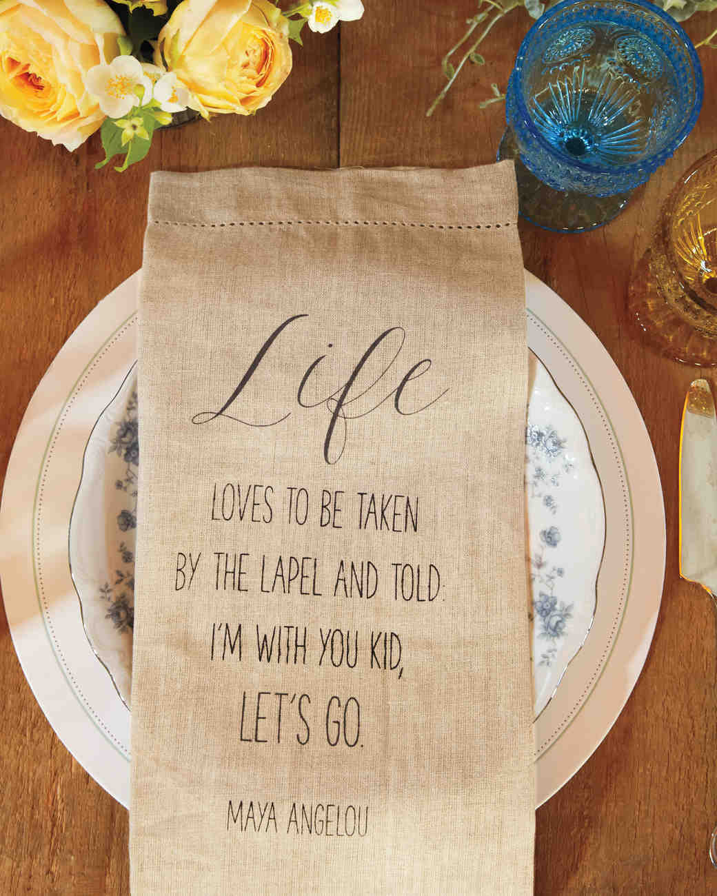wedding dinner napkins with quote