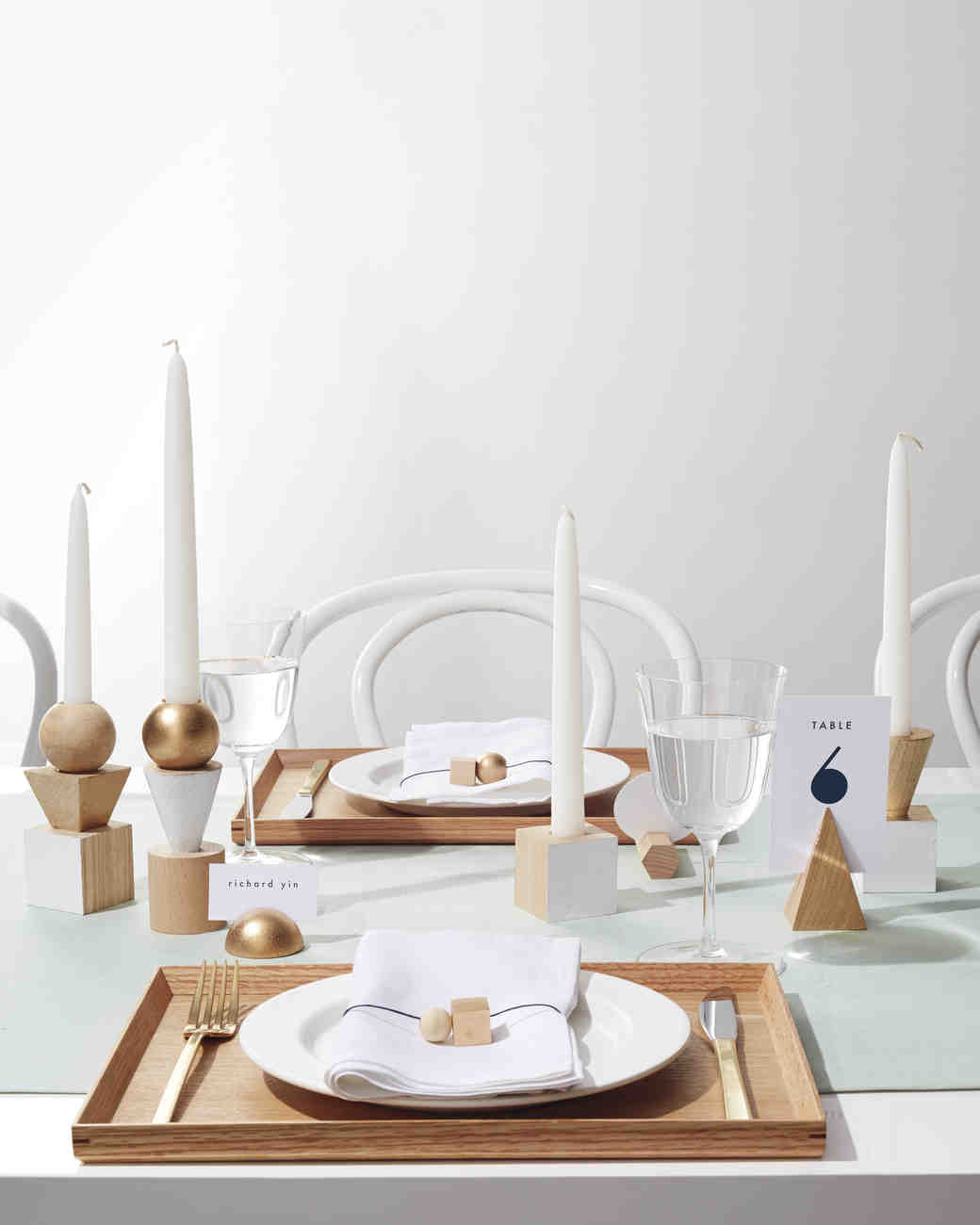 Wooden Block Candlestick Centerpiece