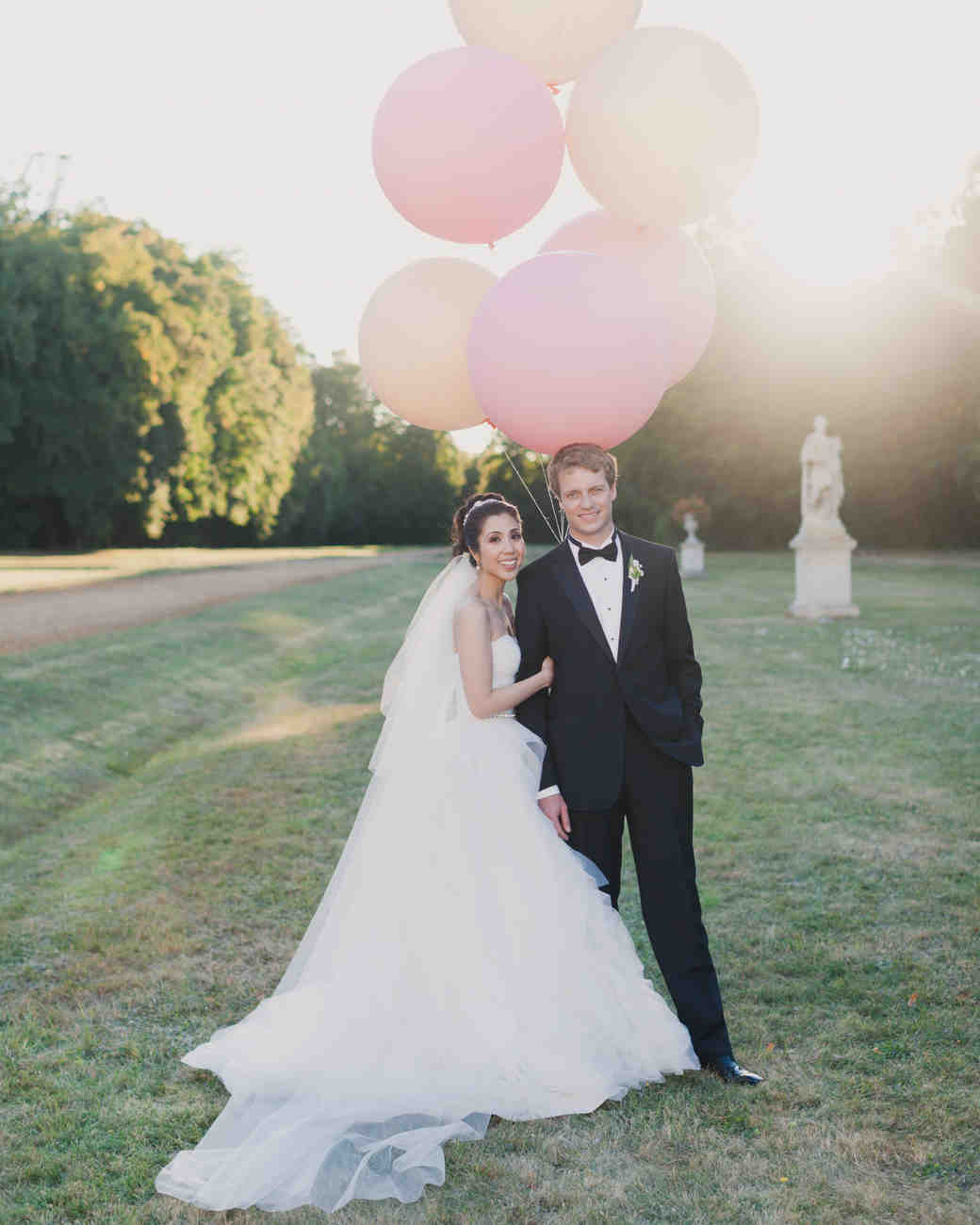 Bride and Groom with Big Balloons