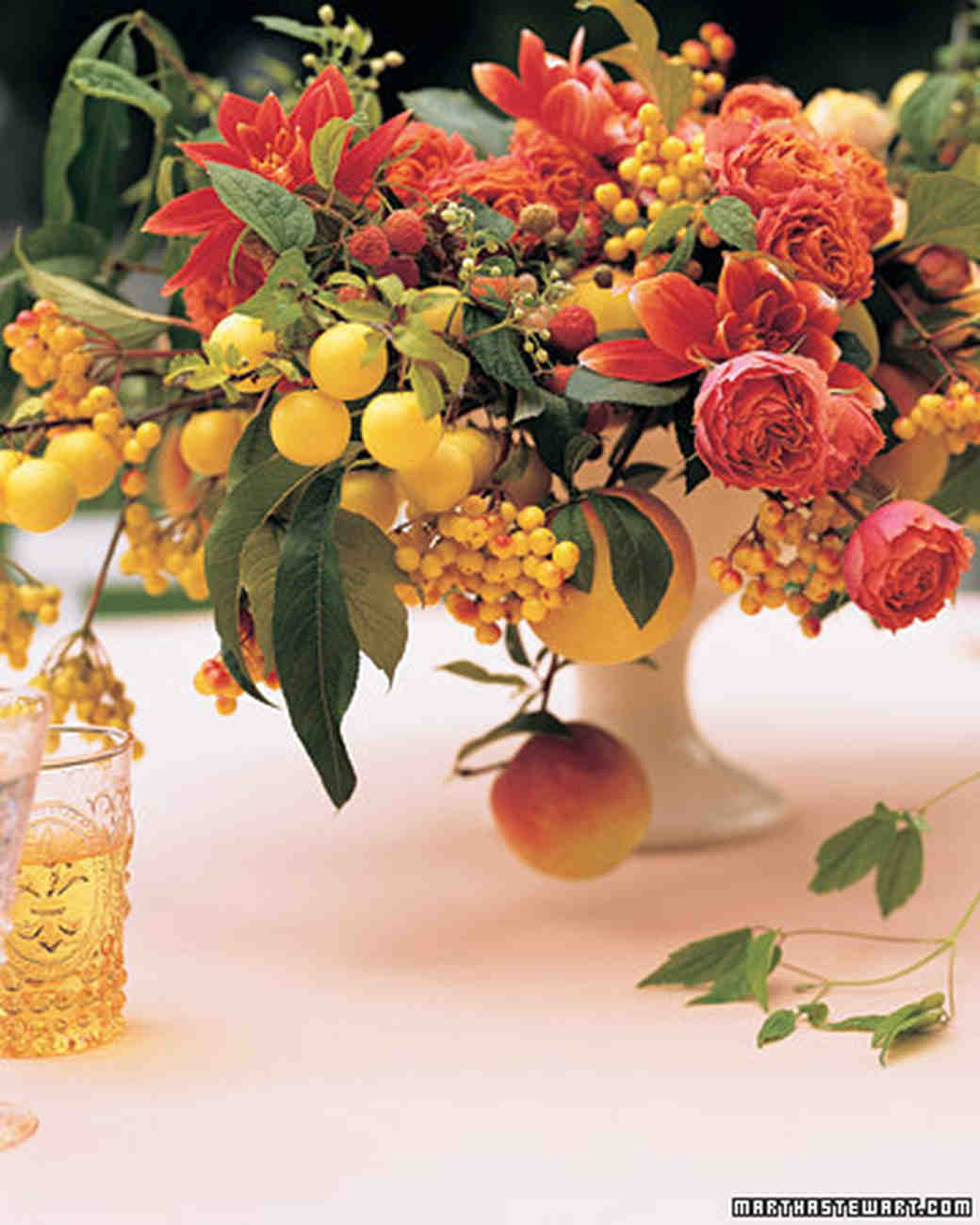 Fruit decorations and favors martha stewart weddings fruit and flower centerpiece junglespirit Image collections