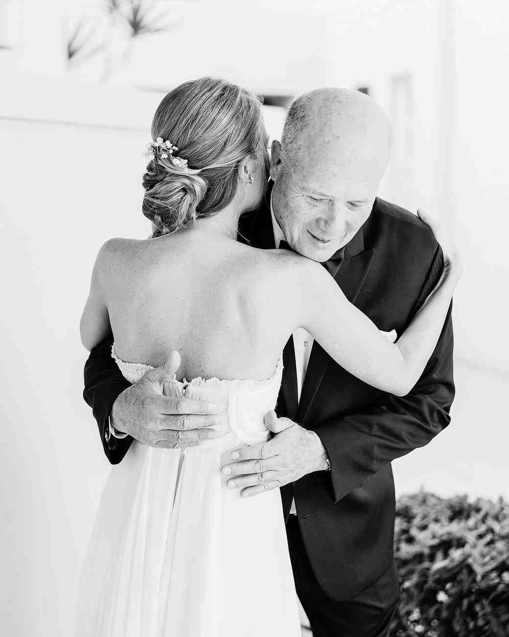 beth john wedding bride hugging dad
