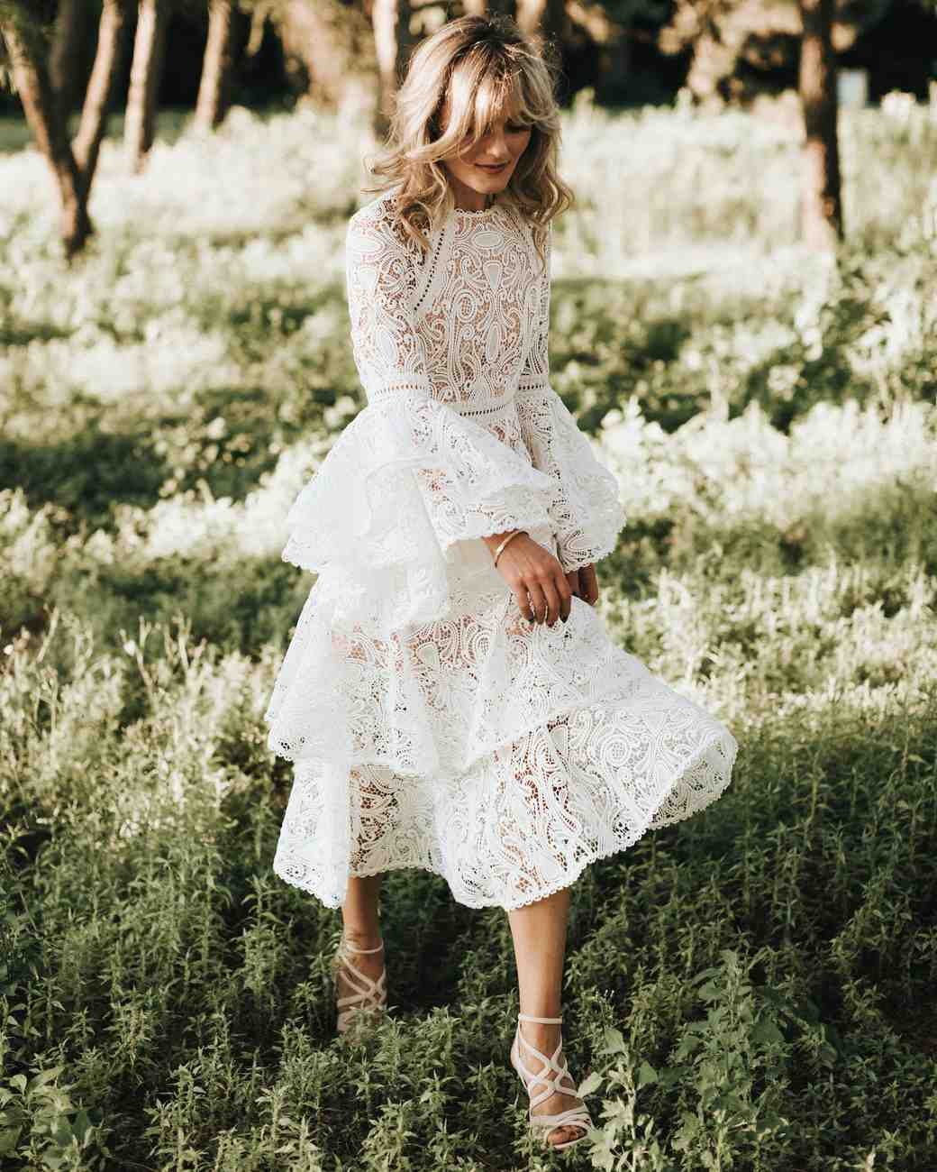 lace flutter sleeve wedding gown