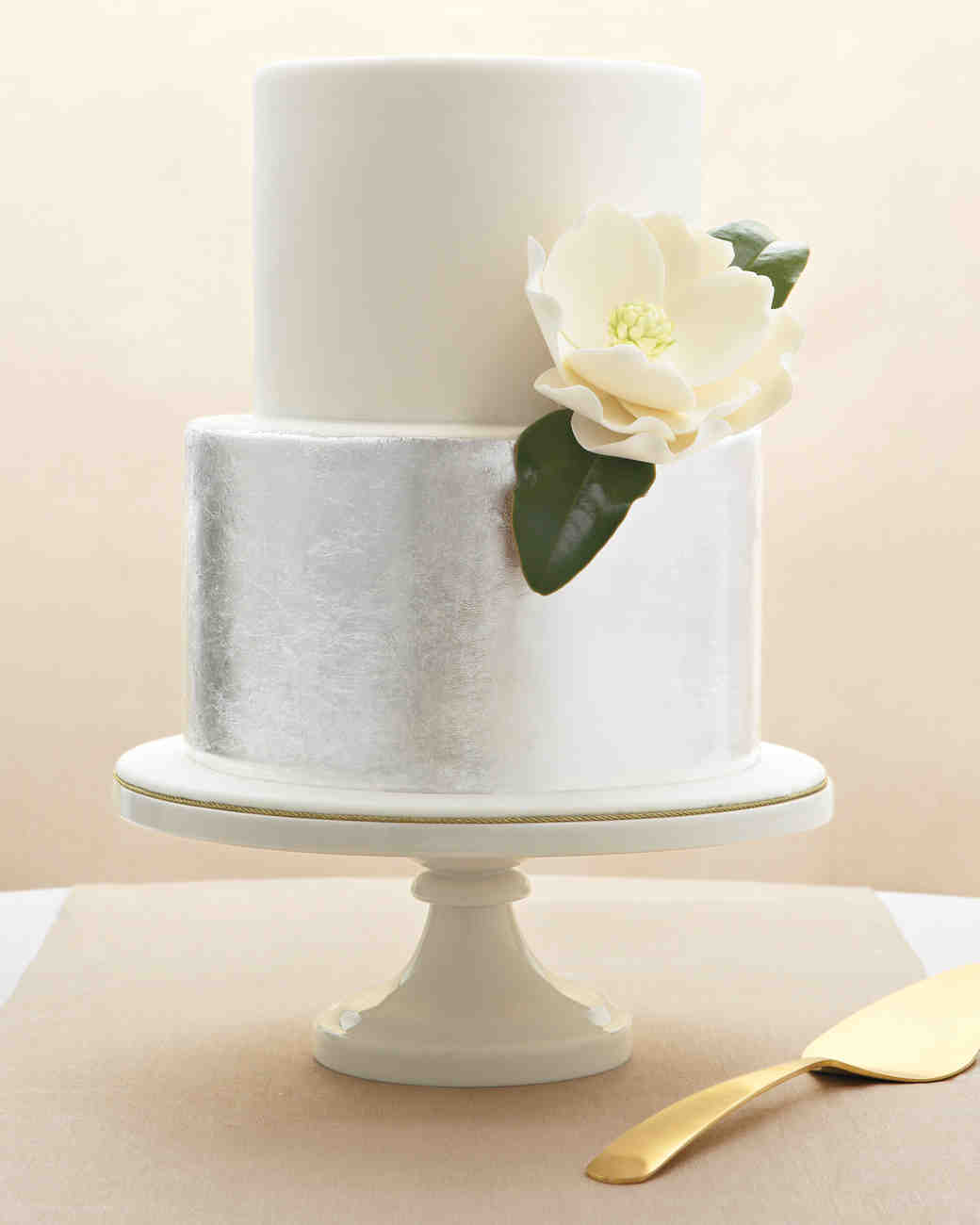 Silver and White Two-Tiered Wedding Cake