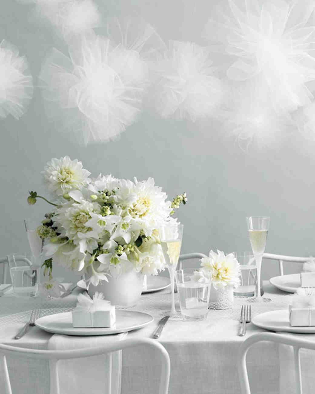 Wedding colors white martha stewart weddings white wedding reception decorations junglespirit Choice Image