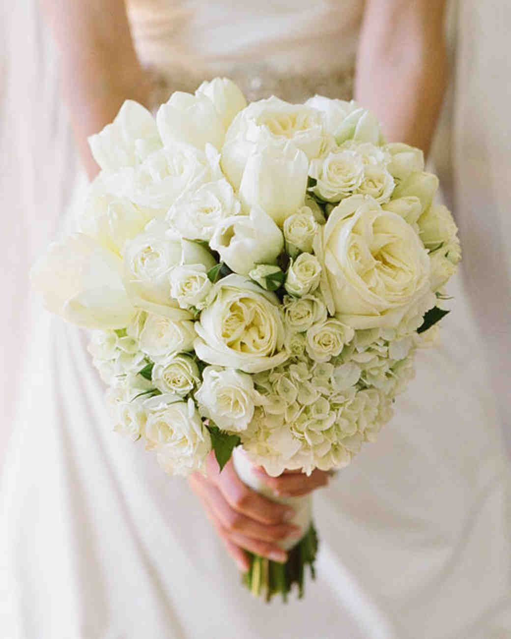 white bouquet - Garden Rose And Hydrangea Bouquet
