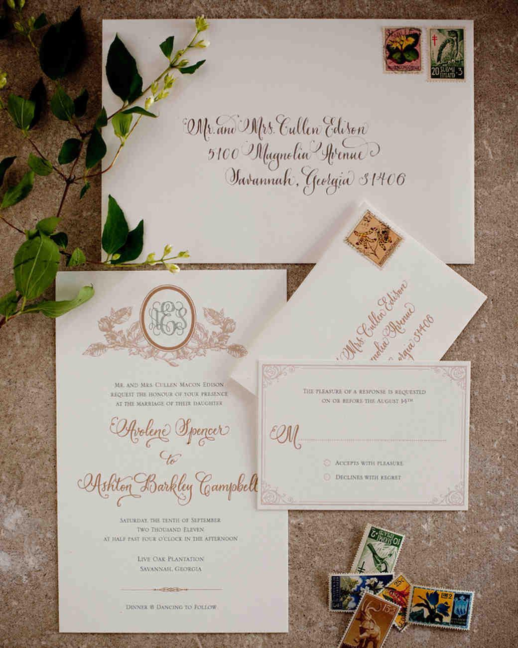 vintage wedding invitations martha stewart weddings - Vintage Style Wedding Invitations