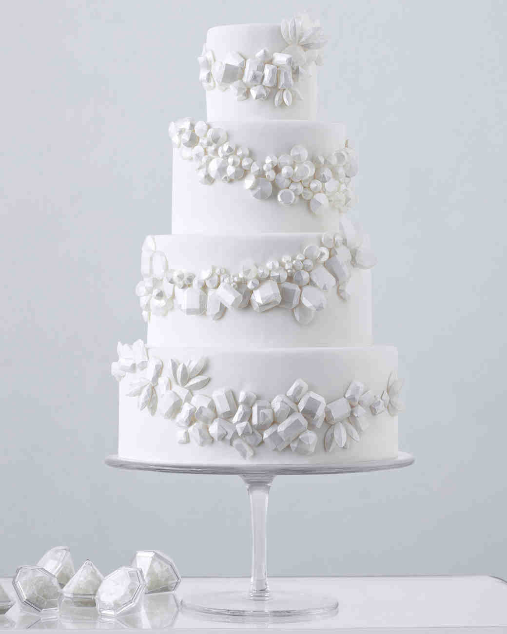 Four-Tiered White Wedding Cake with White Candy Gems