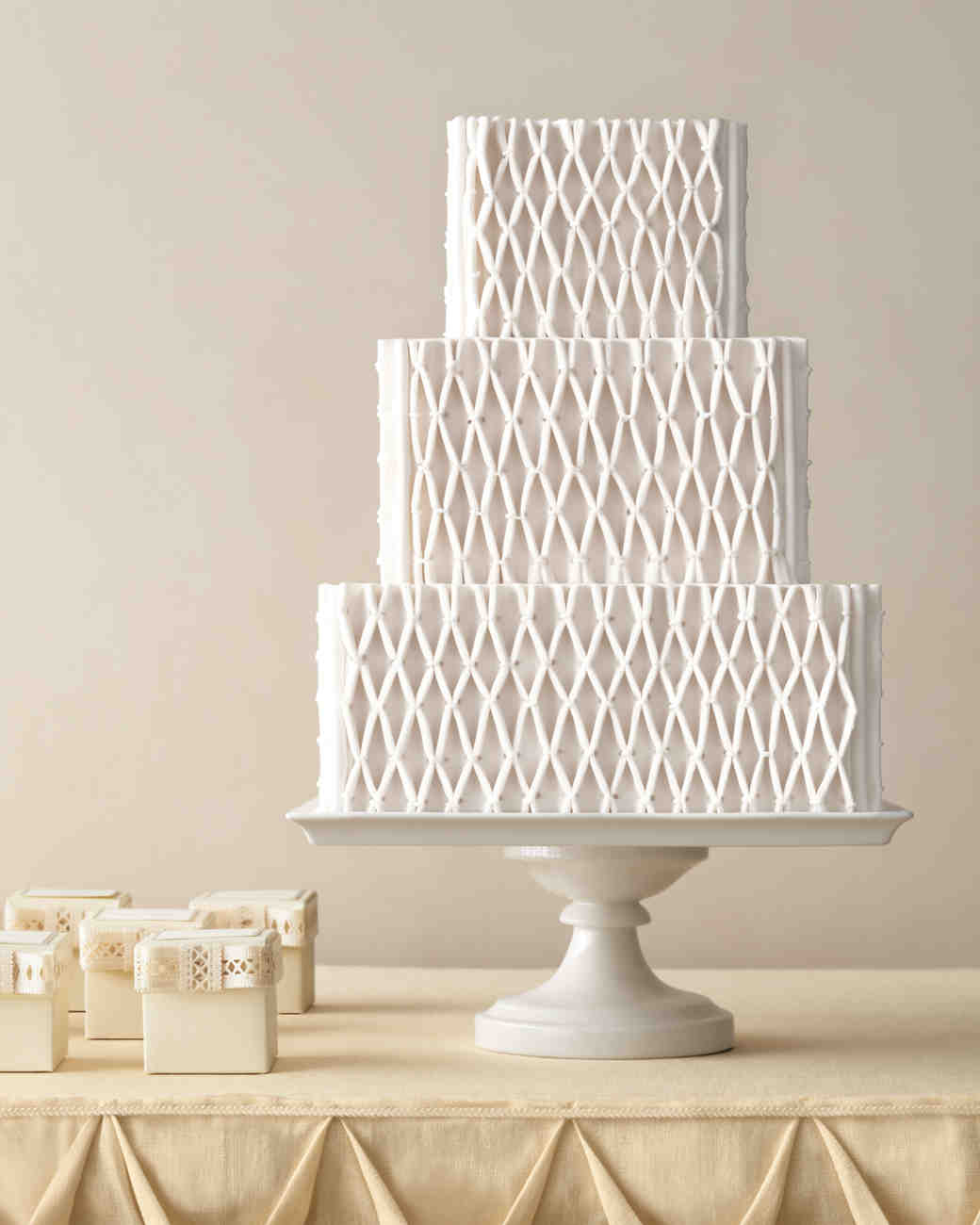 Three-Tiered, Netted White Wedding Cake
