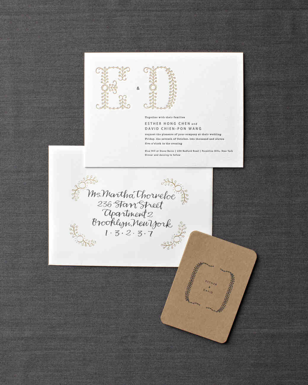 unique monogram wedding invitation