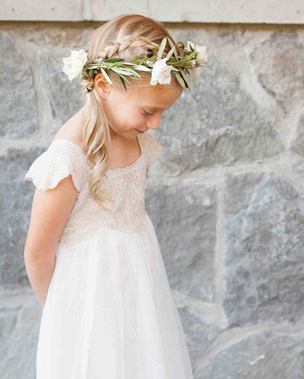 Flower Girl Hairstyle Reverse Braid Side Ponytail