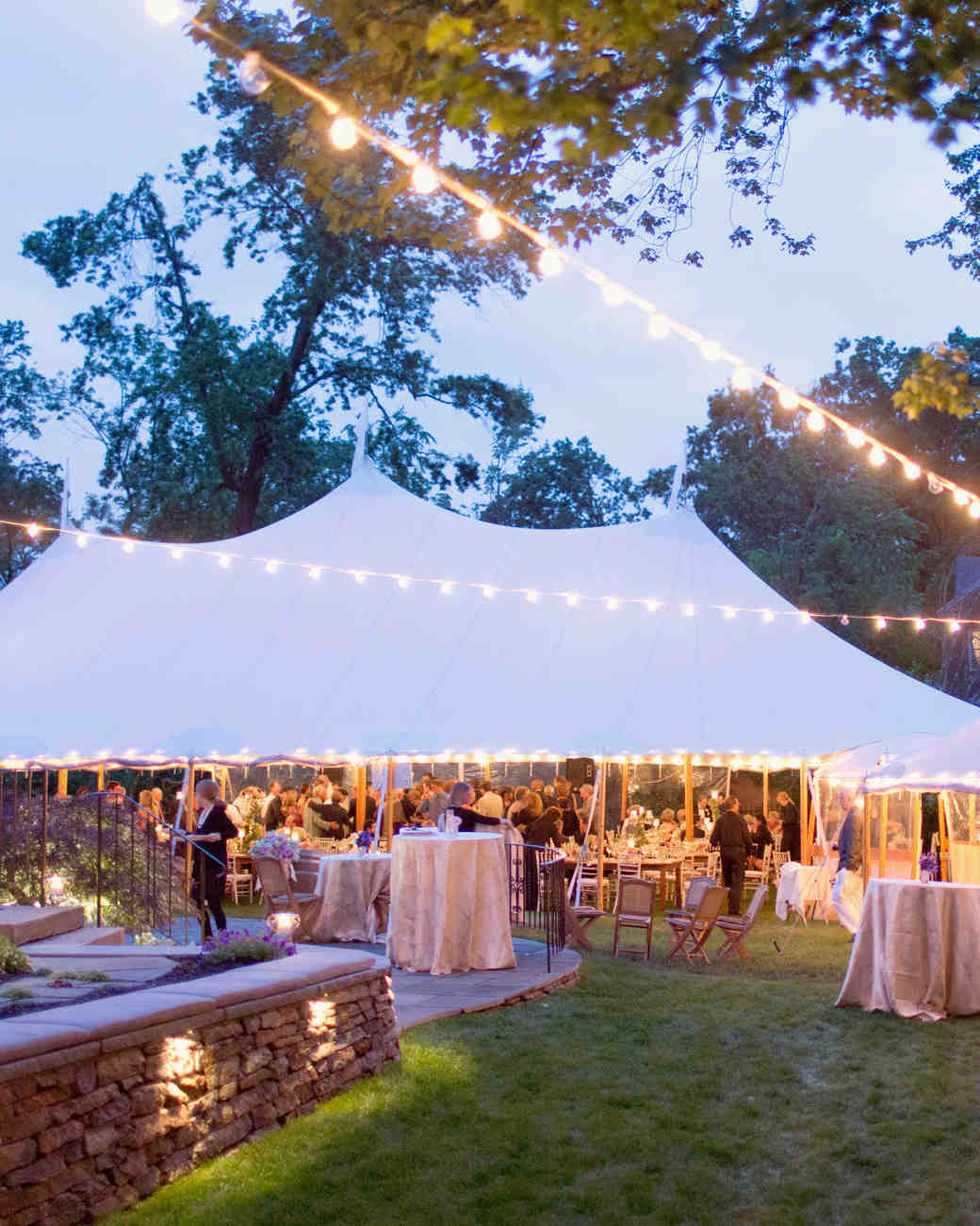 String lights tent wedding venues