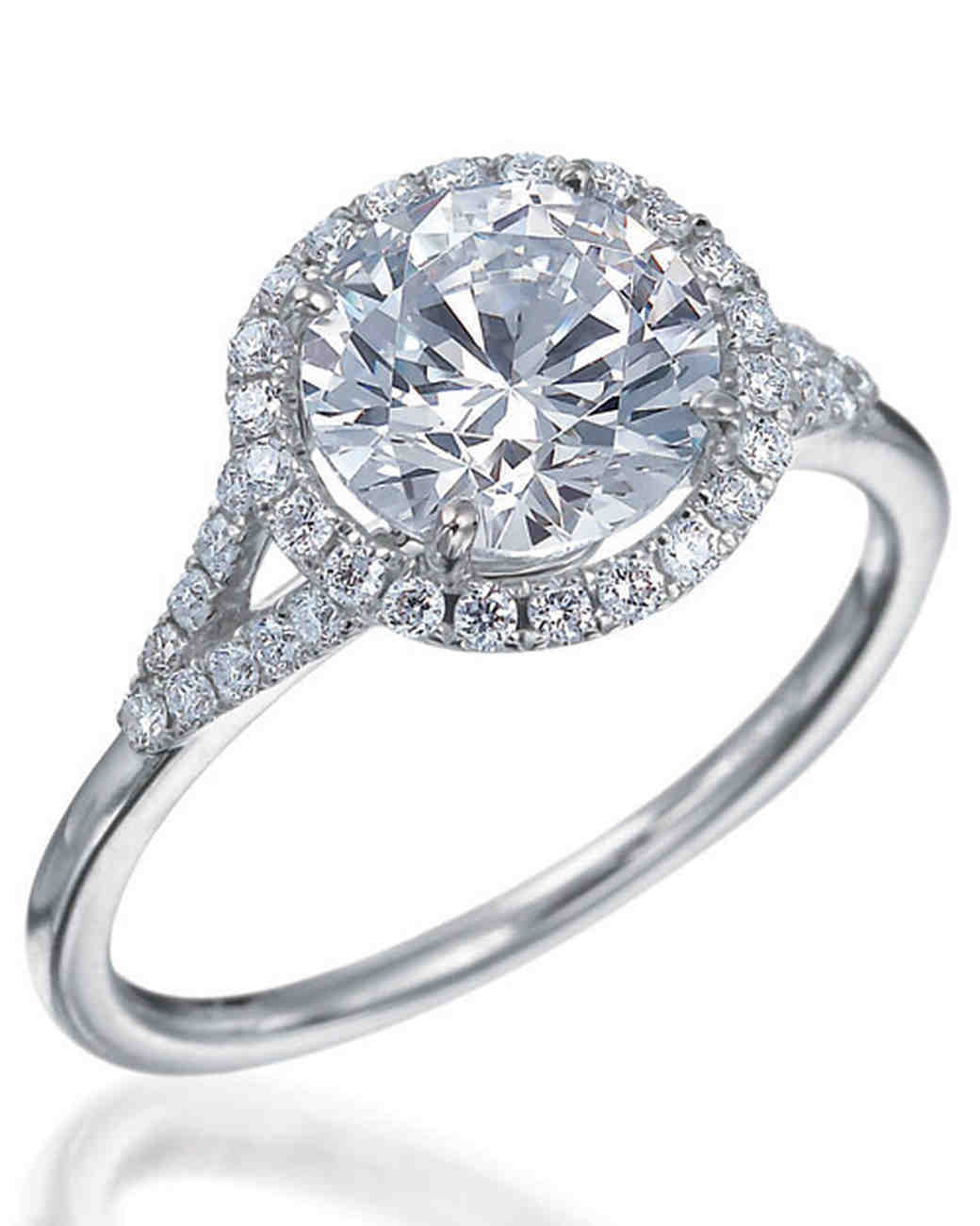 round cut diamond engagement rings martha stewart weddings - Flat Wedding Rings