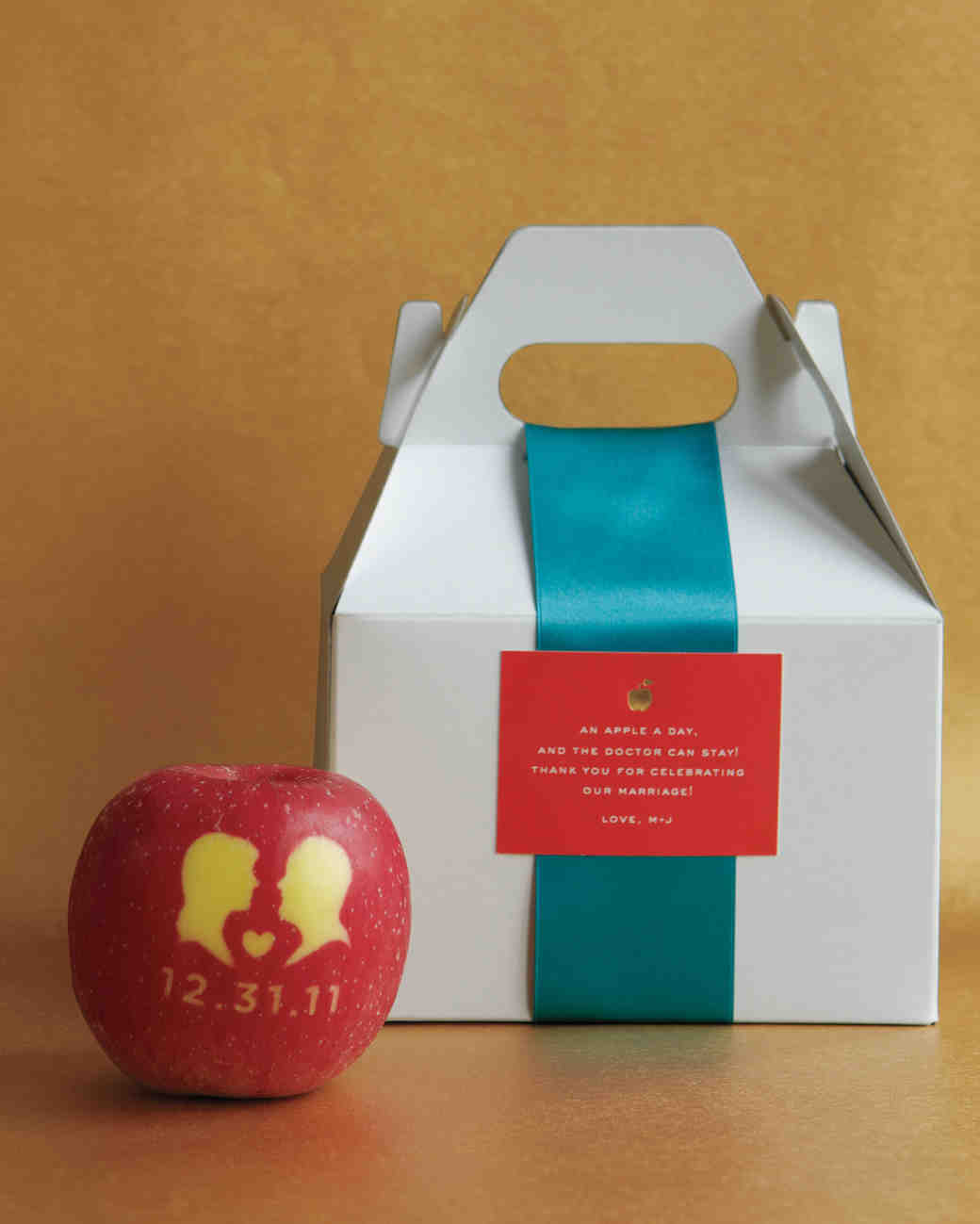 Apple Favor with Bride and Groom Silhouettes