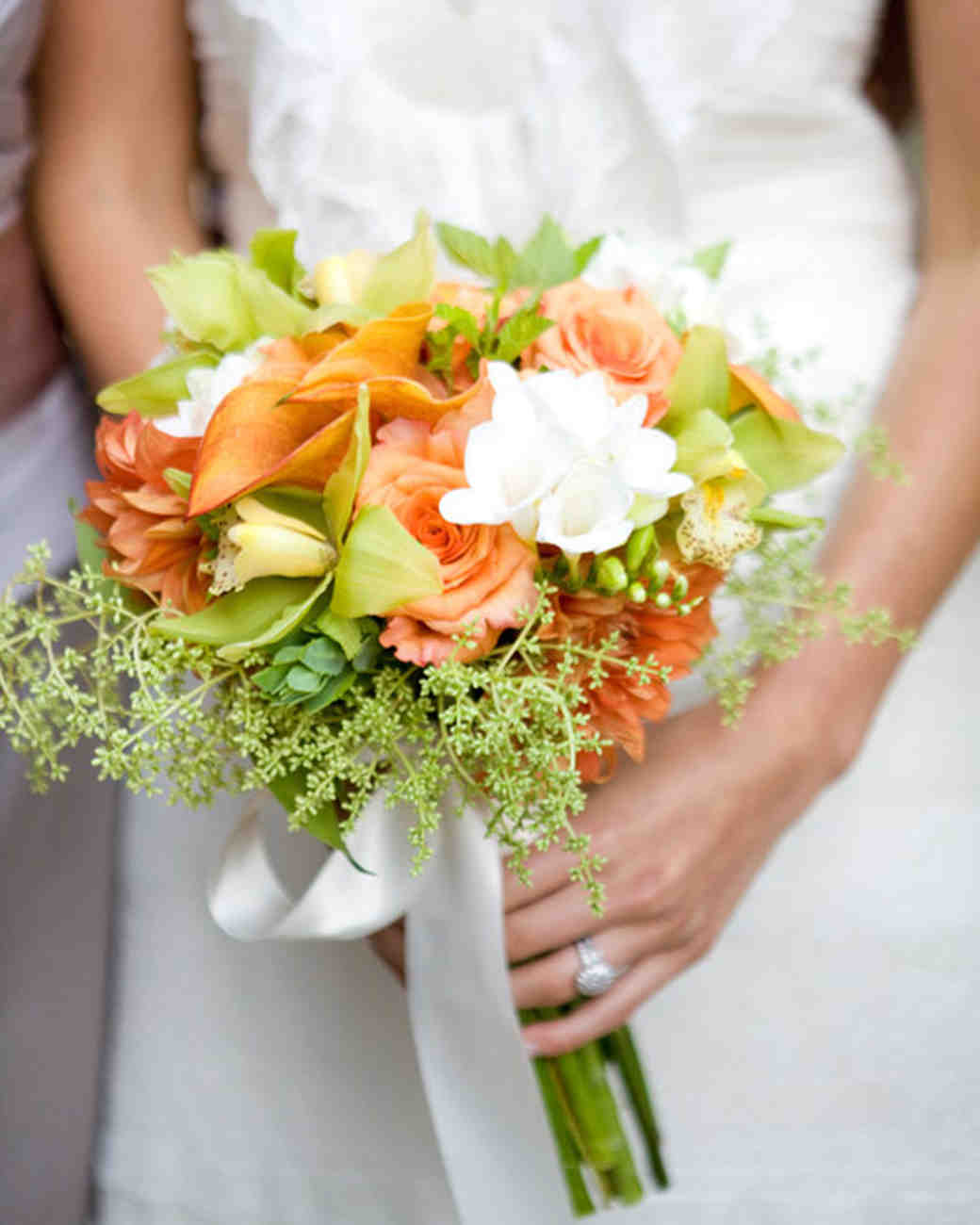 Real weddings with orange ideas martha stewart weddings orange white and green bouquet mightylinksfo