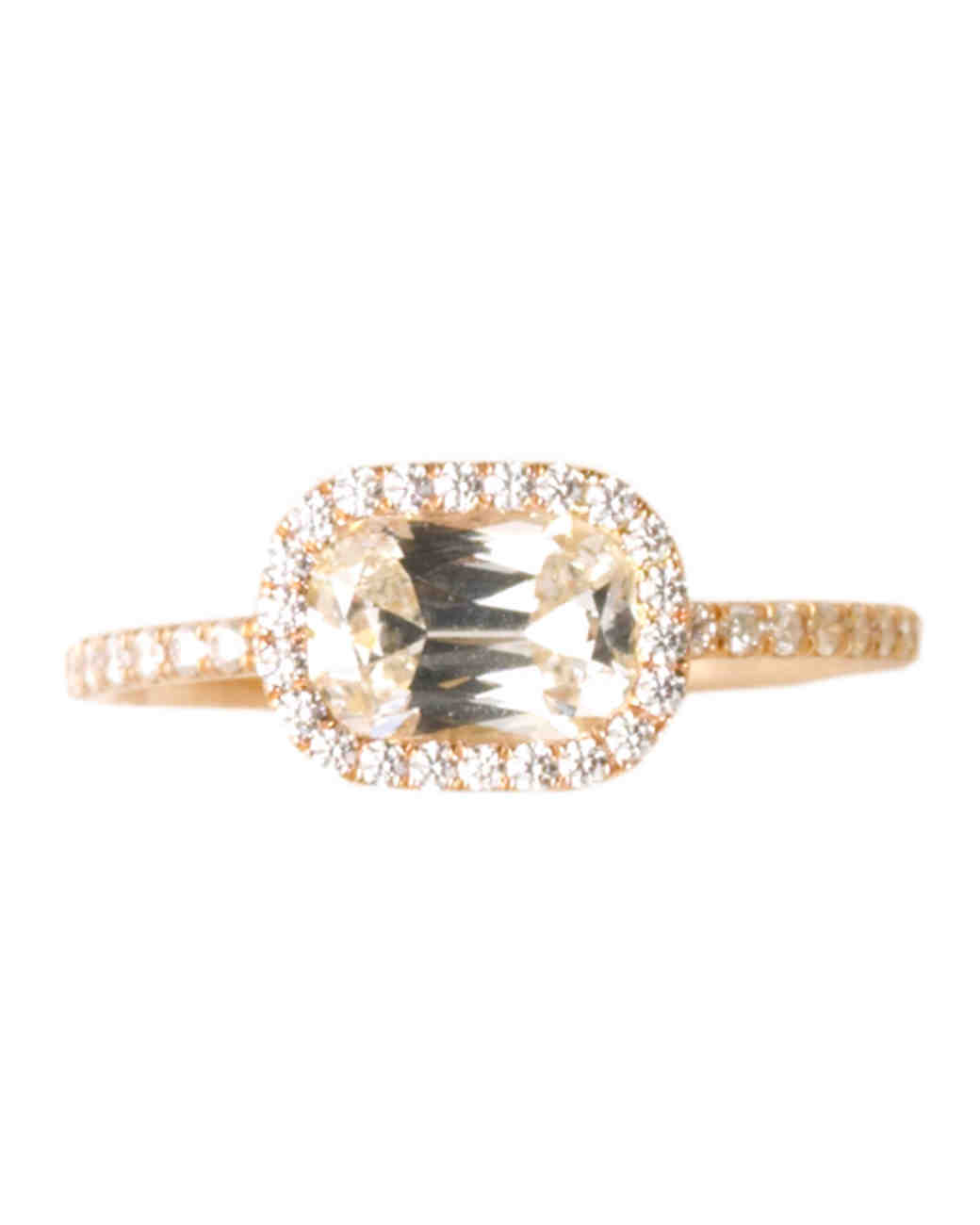 Yellow Gold Engagement Ring with Horizontal Setting