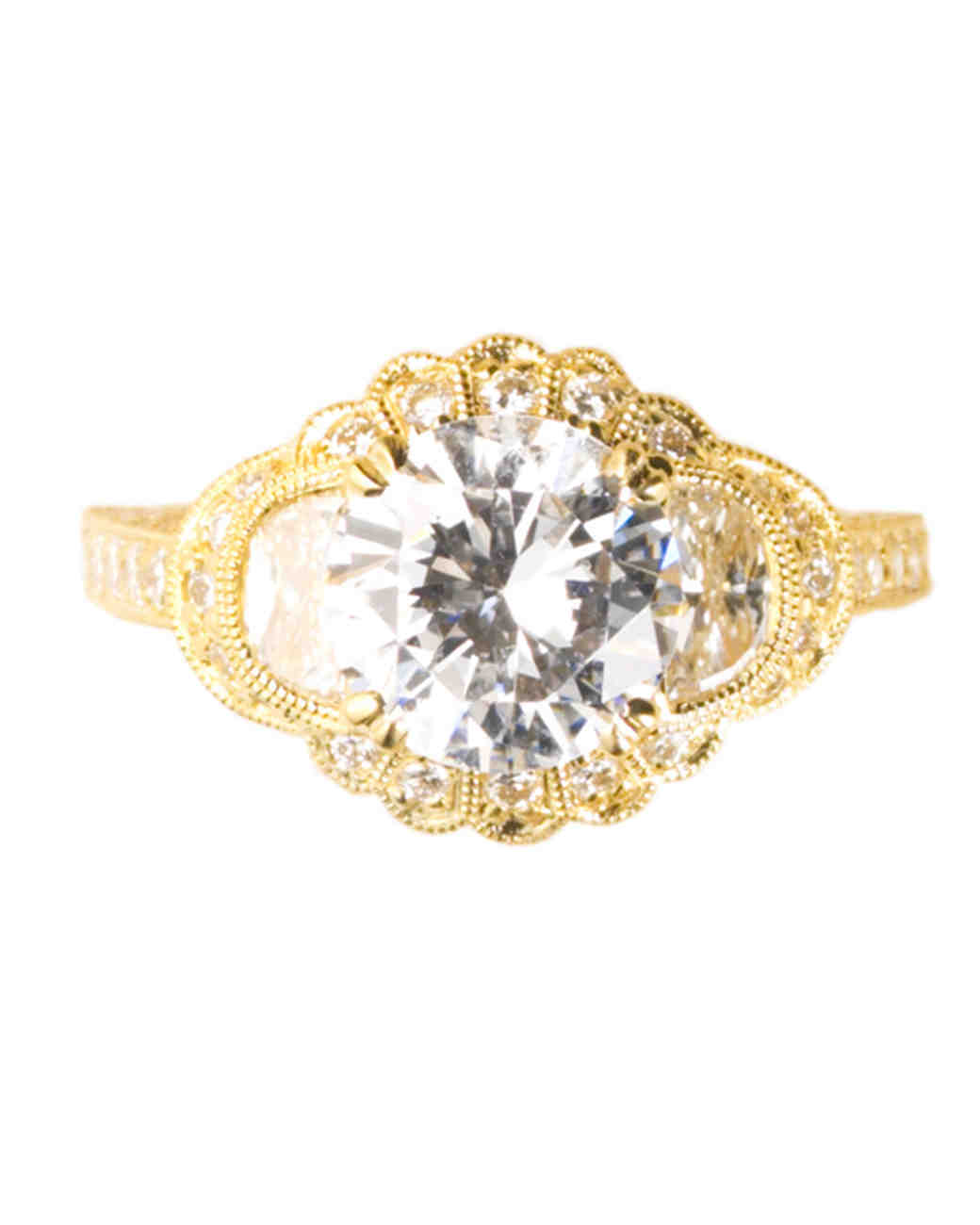 Yellow Gold Engagement Ring with Half-Moon Diamonds