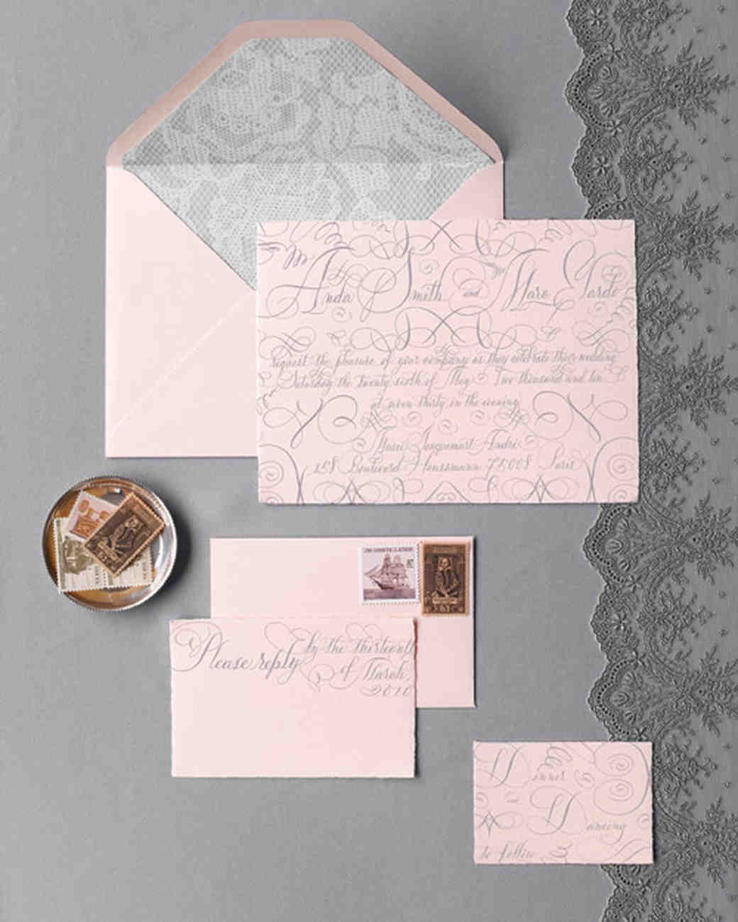 gray and pink wedding invitation