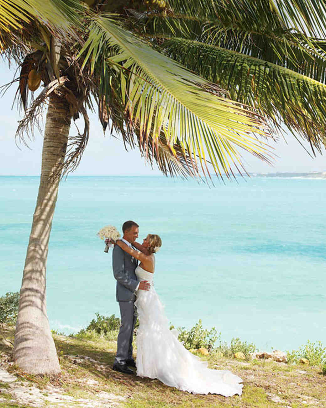 A White And Silver Destination Wedding On The Beach In Bahamas