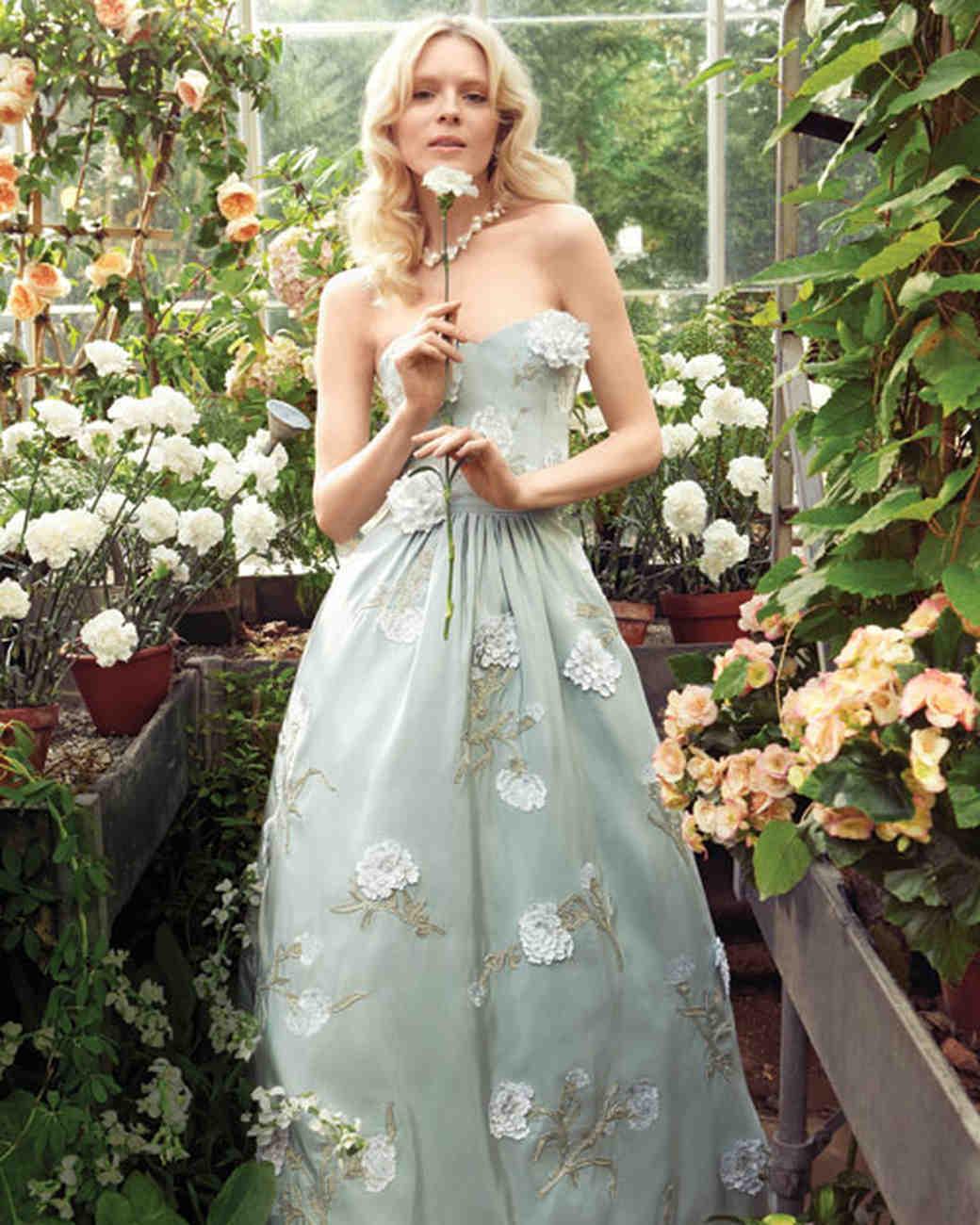 Blue Wedding Dress With Flowers
