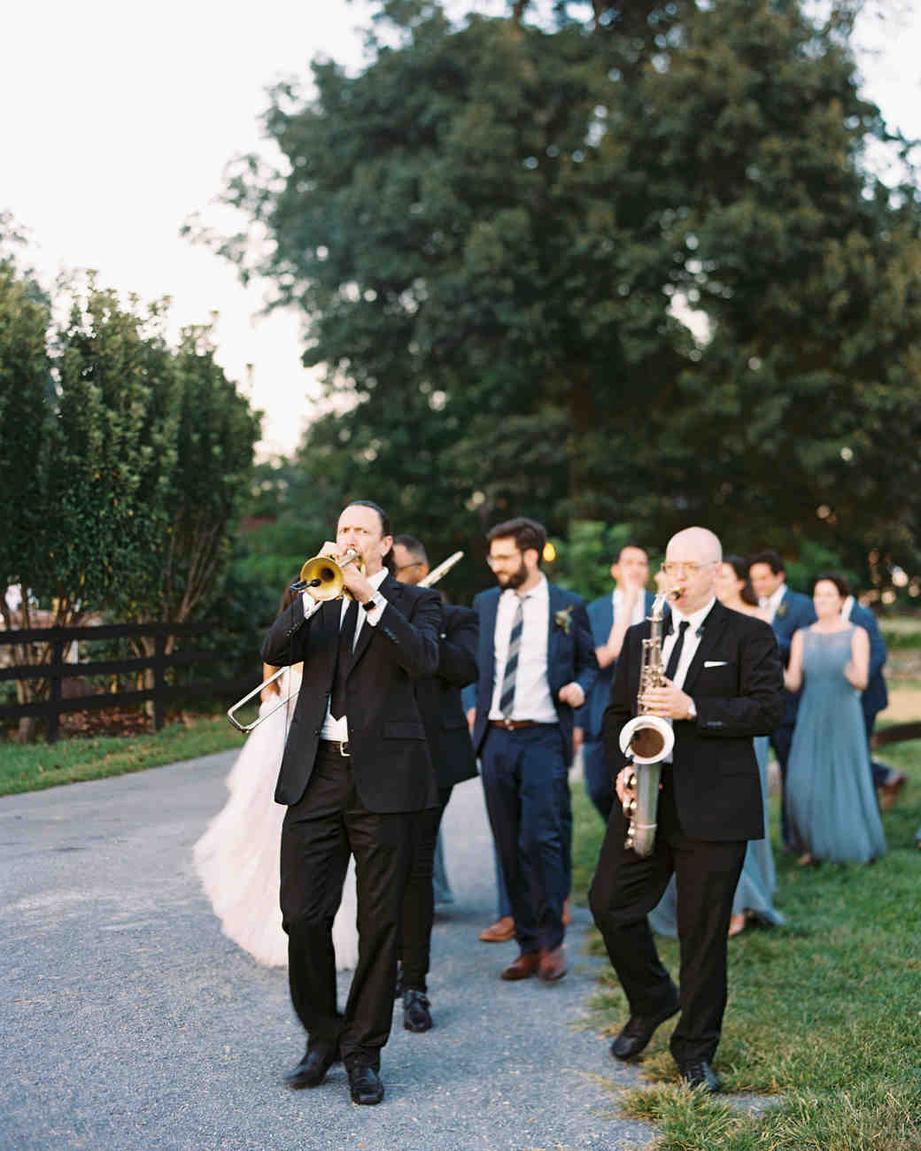 outdoor wedding band walk