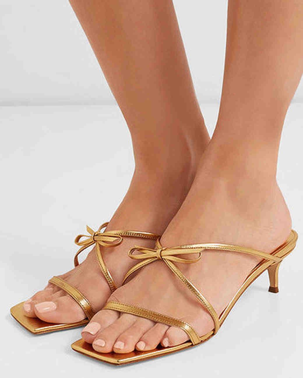 metallic leather sandals bridesmaid shoes