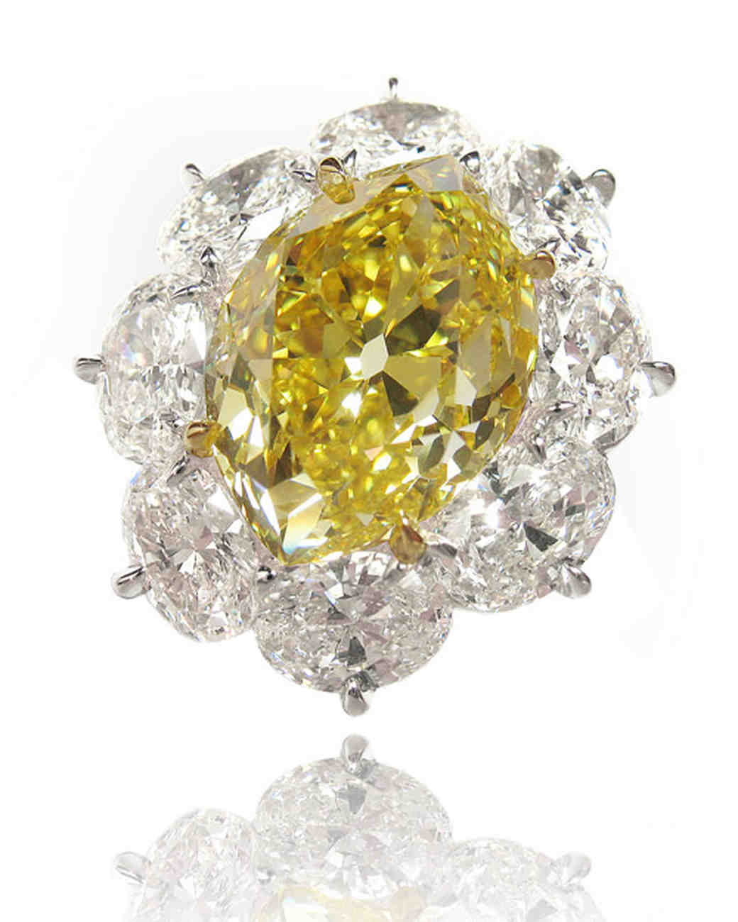 Yellow Marquise-Cut Diamond with Large White Diamond Halo