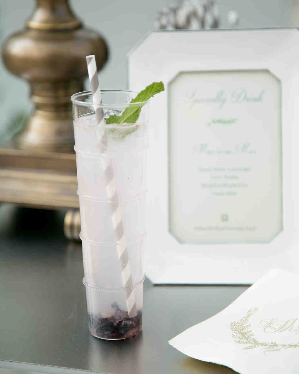 Signature Wedding Cocktail with Striped Straw