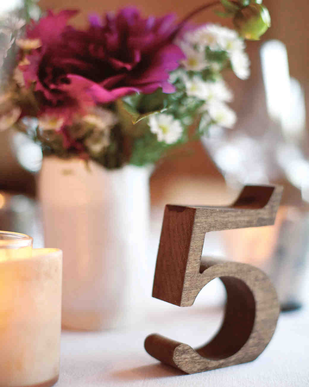 wooden wedding table number
