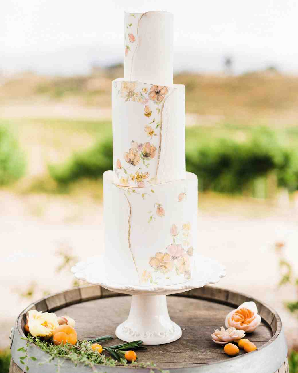 white floral painted cake
