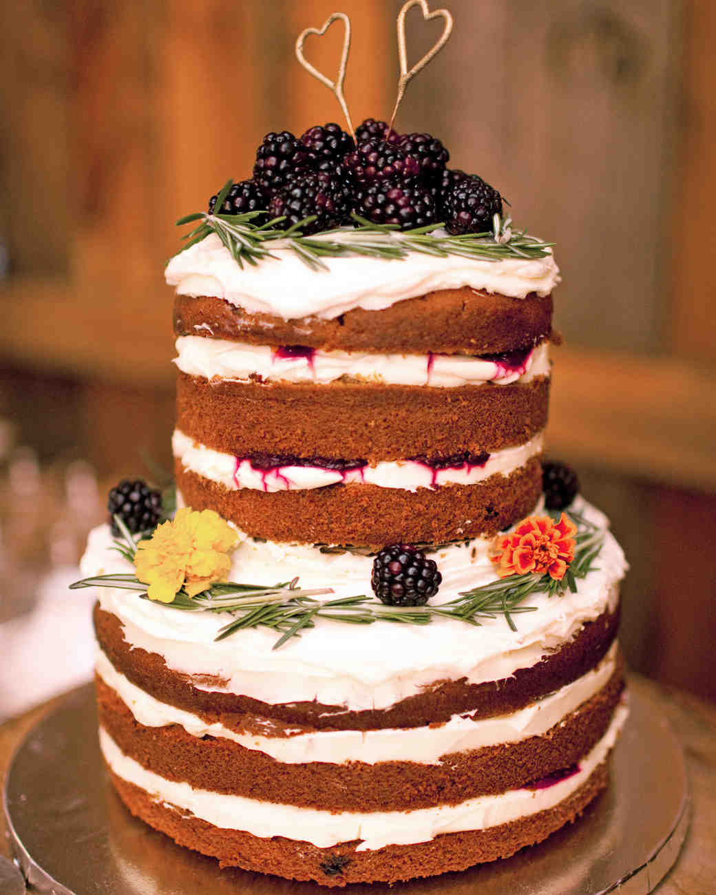 Naked Pumpkin Cake with Flower and Greenery Topper