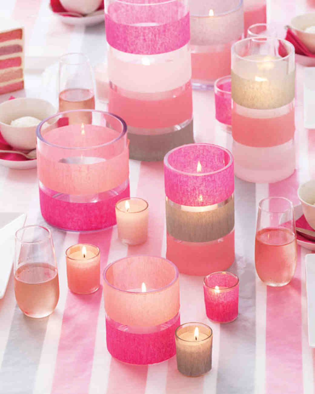 Pink Streamer-Striped Candles