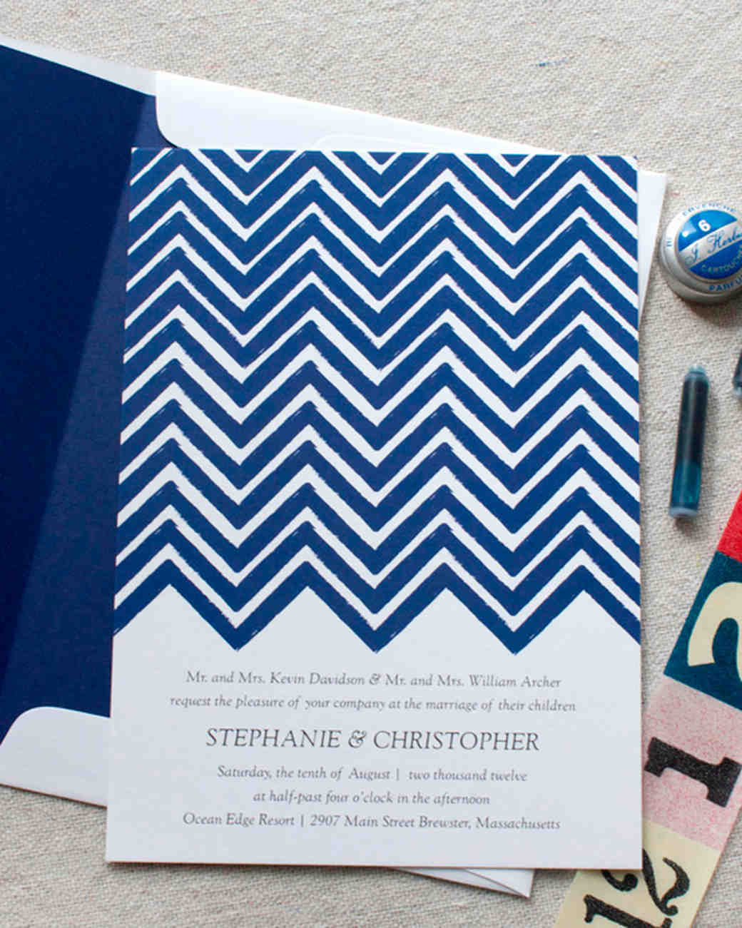 patterned wedding invitation
