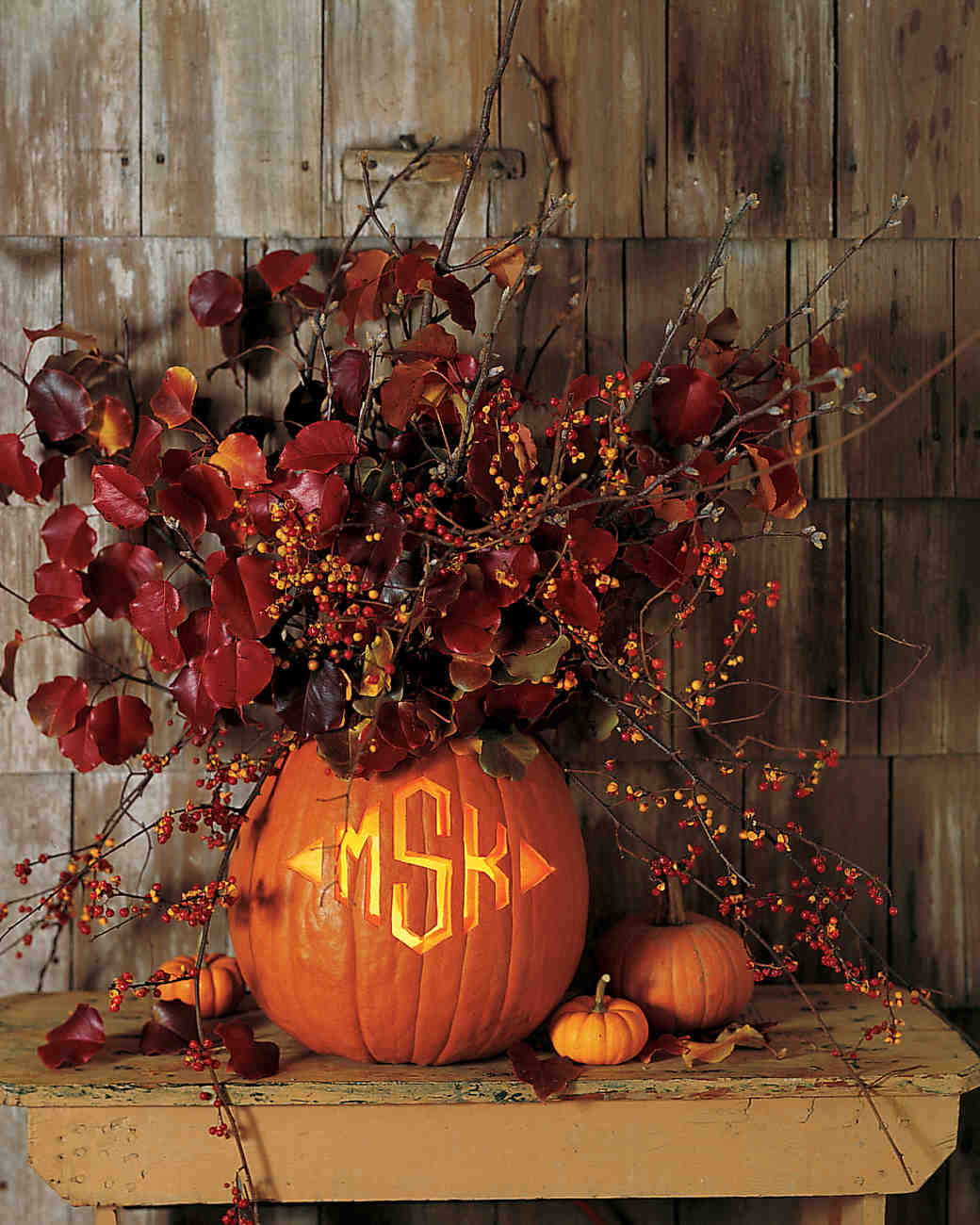 Pumpkin Vase with Monogram Carving