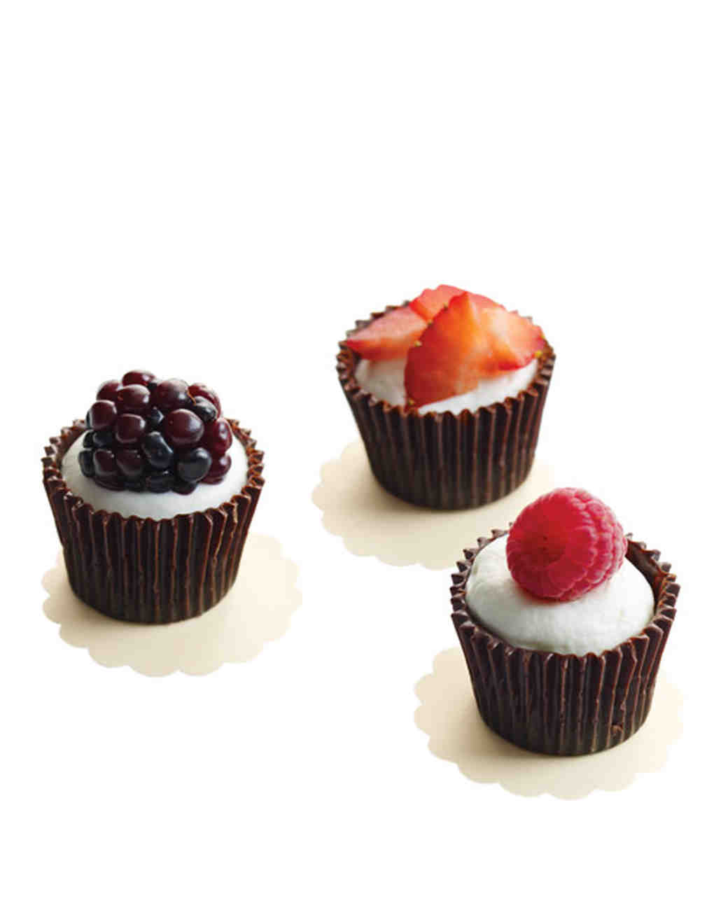 Chocolate Cups with Cream and Berries