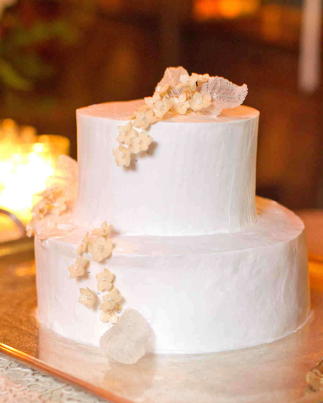 Small White Cake with Sugar Jasmine Flowers