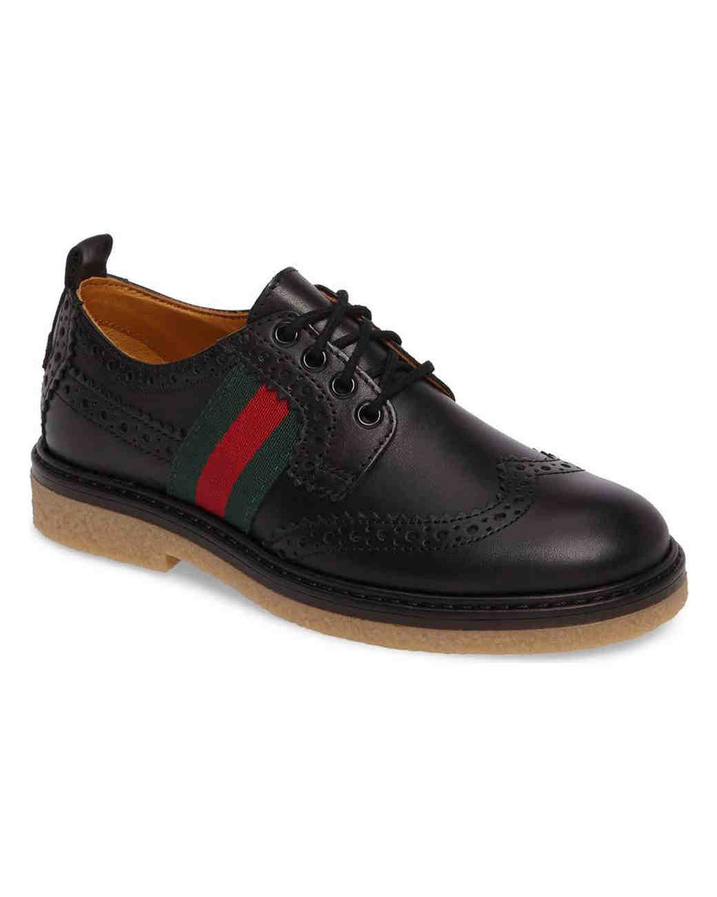 black ring bearer shoe red stripe
