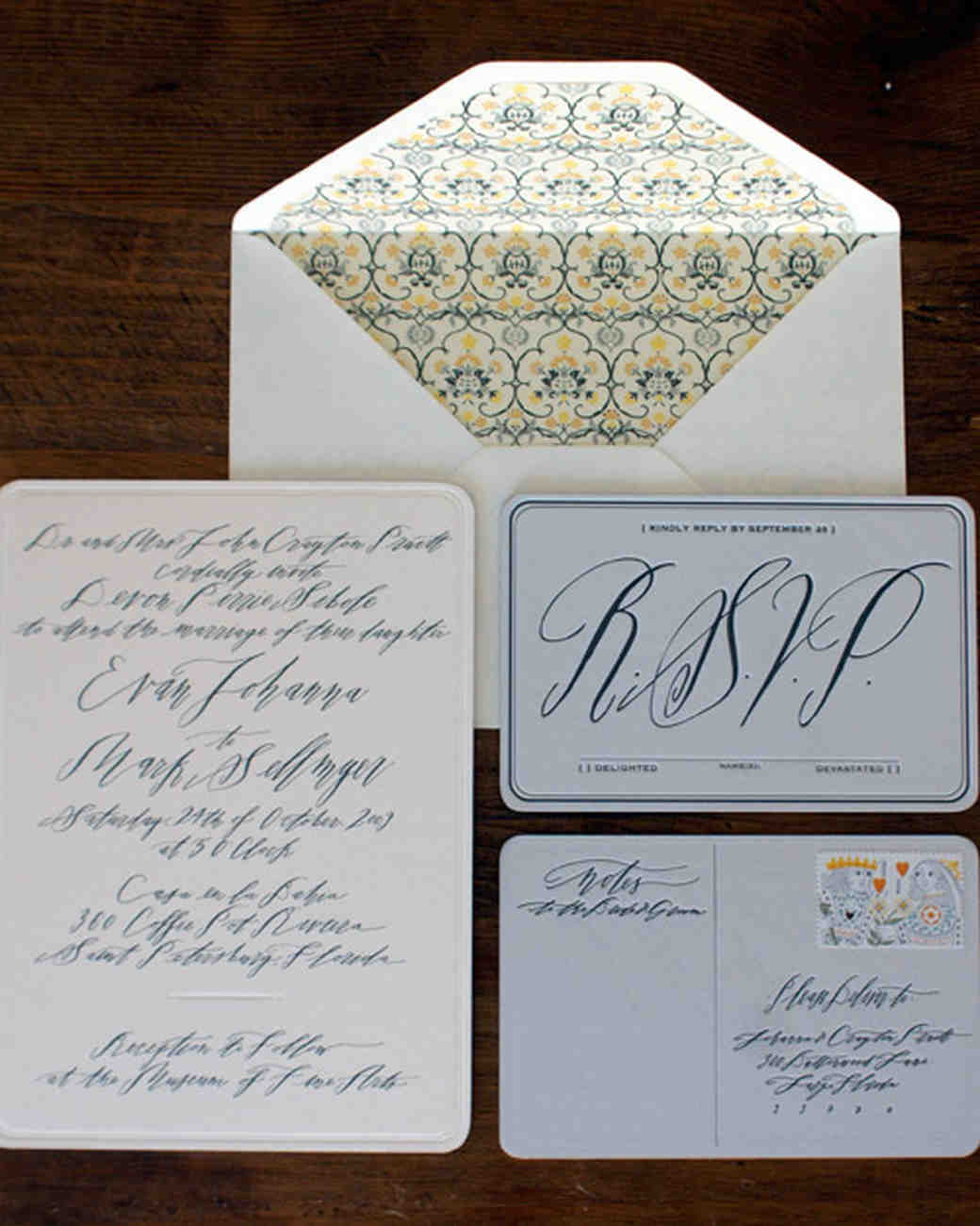 handwritten wedding invitation