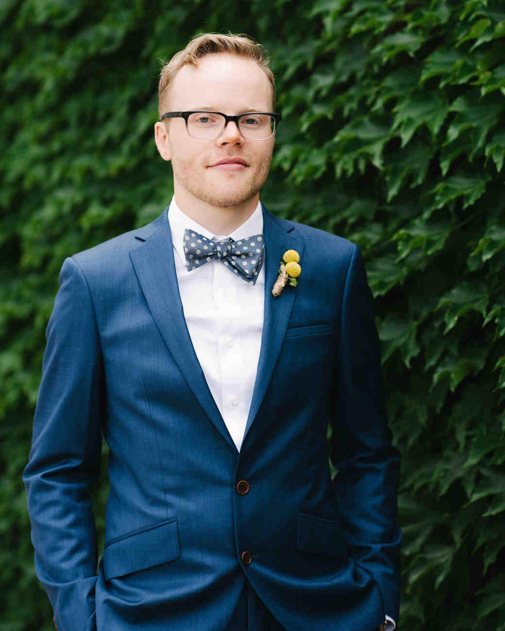 steph tim wedding groom blue suit