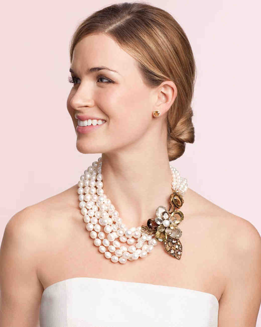 Bridal jewelry for every wedding dress style martha stewart weddings for a strapless neckline bold multistrand necklaces ombrellifo Choice Image
