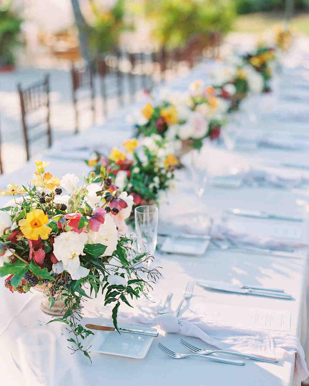beth john wedding long table floral bouquets