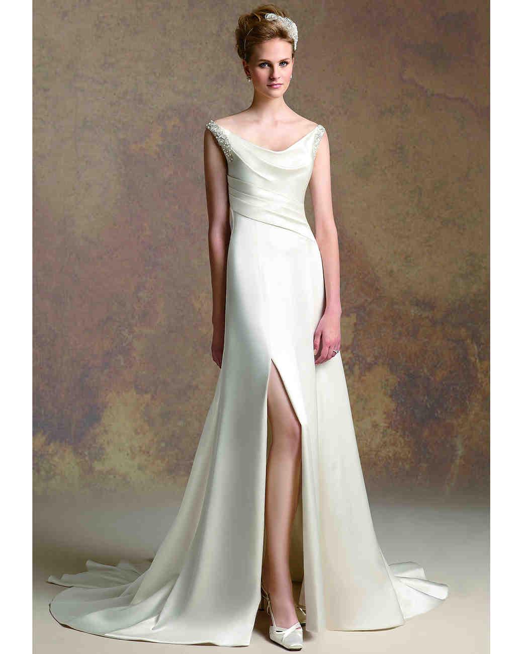 front slit lace wedding dress