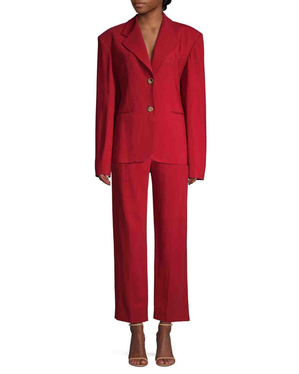 Red Oversize Blazer Wide-Leg Pants