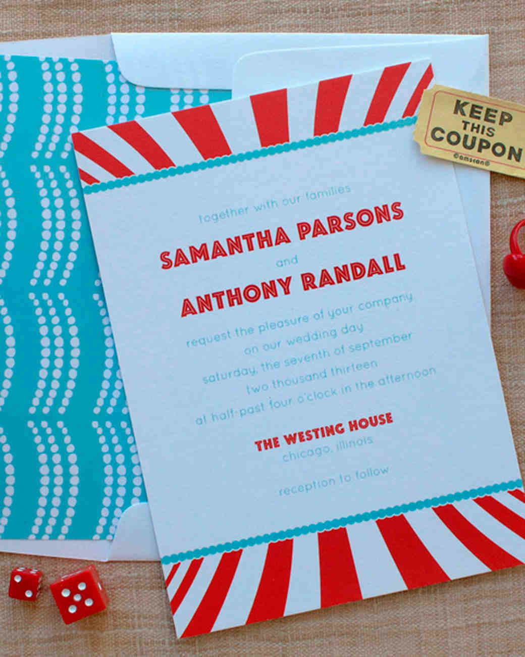 carnival-themed wedding invitation
