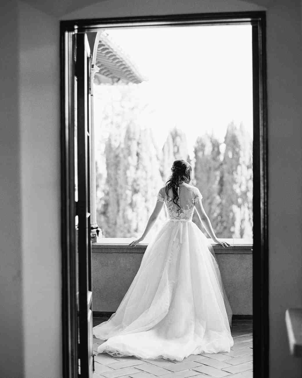molly josh wedding bride through doorway