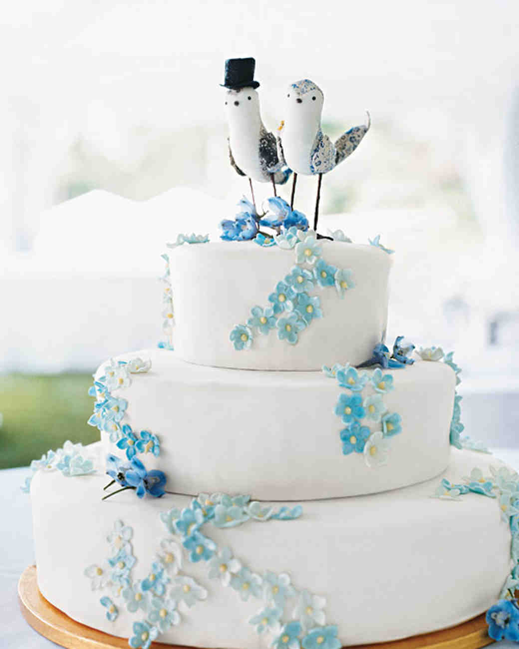 Retro Cake With Blue Flowers